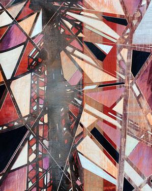 JAN MUCHE, O.T. (Rot), 2016, Acryl, Tusche und Bootslack auf Leinwand, 150 x 120 cm
