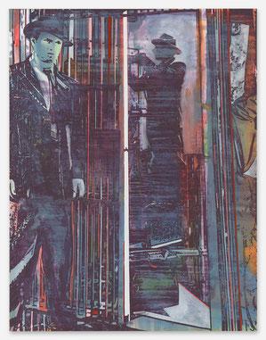 JAN MUCHE, Film, 2020, Acryl und Tusche auf Leinwand, 130 x 100 cm