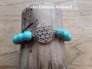 Edelstein Armband mit Lebensblumen Symbol