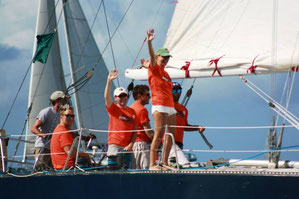 Crossing the finish line in the mango bowl regatta