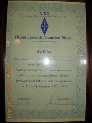 Certificato Iscrizione ARI