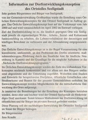 Bild: Seeligstadt Chronik 2002