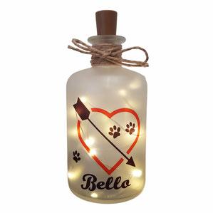 Flaschenlicht Herz mit Hundenamen