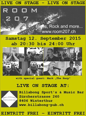 ROOM 207, Billabong Winterthur, Zürcher Bluesband, Bluesband Zürich, Blues Zürich, Kai Bachmann, Kurt Zaugg, Franz Varga, Josef Varga, Ruedi Kasper, Blues Rock and more