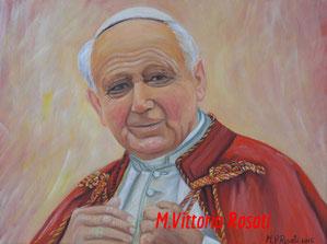 Pope Wojtyla, oil on canvas, cm 30x40, 2015
