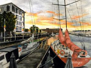 「アークランドの夕暮れ P8」    2020年2月にニュージーランドを旅しました。オークランドのハーバーの夕暮れです。