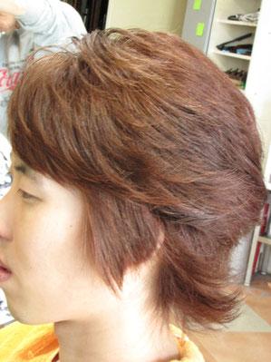 耳前部と前髪を S矯正カール