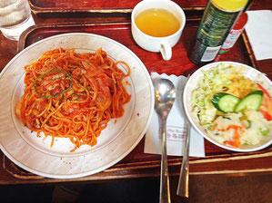 るぽのスパゲティナポリタン+サラダ・スープ・ドリンク