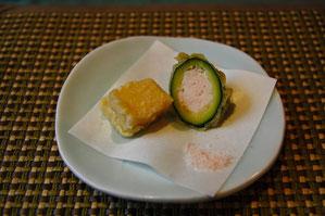 ズッキーニと胡麻豆腐の天ぷら
