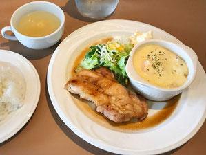 若鶏のソテー生姜風味&海老マカロニグラタン(スープ・ライス付き)