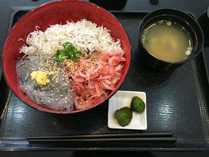 生・釜あげしらすと生桜海老の三色丼 ¥1000