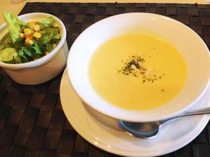 スープはポタージュに変更した。ミニサラダつき