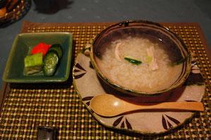 信濃地鶏と蕎麦の実の雑炊、香の物