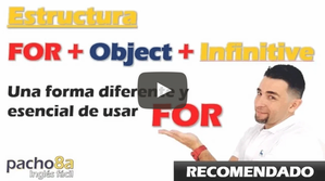 Estructura FOR + OBJECT + INFINITIVE / Clase recomendada Nivel Pre e Intermedio