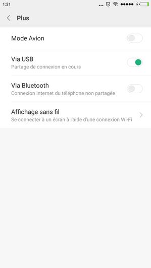 Paramètres smartphone partage de connexion