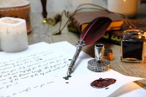Brief-Liebesbrief-Feder-Tinte-alte Schrift