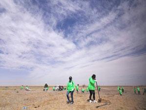 このとてつもなく広大な砂漠がいつか緑の大地になることを夢見て・・・