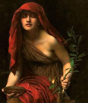 Prêtresse de Delphes - Peinture de John Collier (détail) -1891