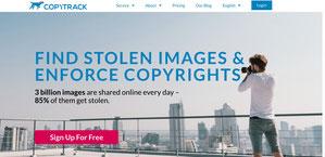 Screenshot von der Internetseite www.copytrack.com