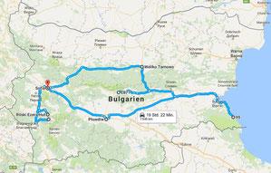 Individuelle Rundreise in Bulgarien - Route einer Reise mit Mietauto in Bulgarien