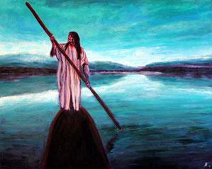 Ein Angehoeriger des indigenen Volkes der Lacandonen steuert ein Boot in einer morgendlichen oder abendlichen Seenlandschaft.