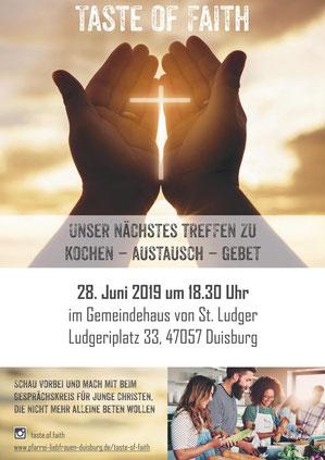 Taste of Faith - Unser nächstes Treffen zu Kochen - Austausch - Gebet