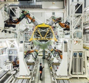 Pictured here is the highly automated fuselage structure assembly line for A320 Family aircraft in Hamburg - courtesy Airbus