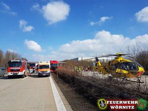 Schwerer Verkehrsunfall bei Wörnitz - Feuerwehr Wörnitz