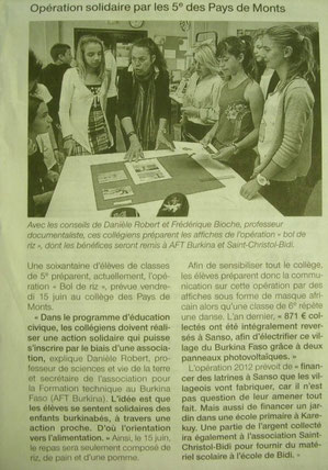 Article de Ouest France 5 juin 2012