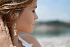 Ohrringe, Braut, Hochzeit, Frisur