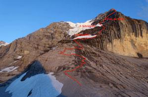 Silberhornhütte, Jungfrau, Rotbrettgrat, Rotbrättgrat, Route