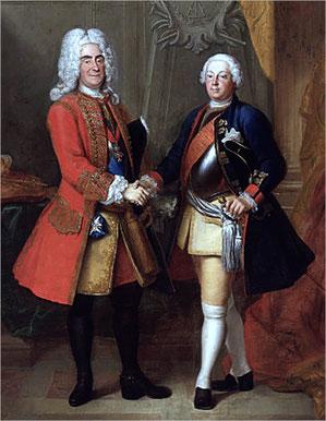 König August II. von Polen und König Friedrich Wilhelm I. von Preußen. Gemälde von Louis de Silvestre, vor 1733