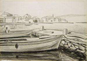 Ilovik, Fischerboote, 1966, Bleistiftzeichnung, 30/40 cm