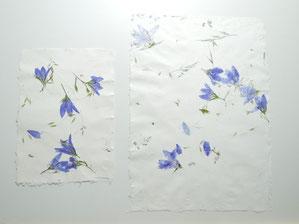 Büttenpapier mit blauen Glockenblumen und Wiesengräsern