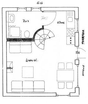 Gezeichneter Grundriss des Ferienhauses