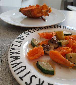 Unser Baby-led Weaning Blog - Rezept für gebackene Süßkartoffel mit Rahmgemüse