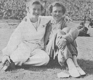 2 members of Scotland's winning 1951 relay team - Moira Carmichael and Elspeth Hay