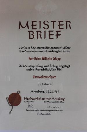 Uhrmachermeister Heinz Stupp Meisterbrief