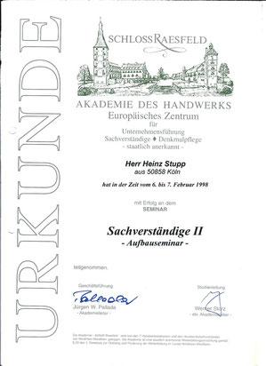 Heinz Stupp Sachverständiger für das Uhrmacherhandwerk