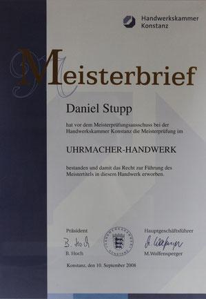 Uhrmachermeister Daniel Stupp Meisterbrief Köln Uhrmacher