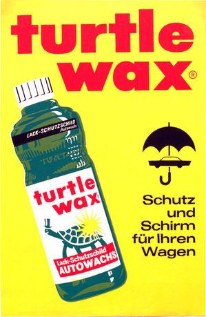 Poster Turtle Wax Werbung der 1960er Jahre. Plakat der Kahlenberg-Graphik.