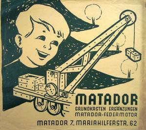 Matador Plakat (Werbung für Matador Grundkasten) Kahlenberg-Graphik um 1955.