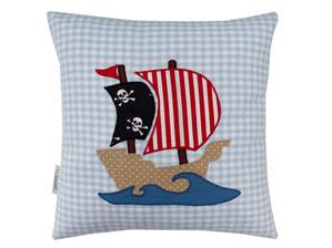 Kissen 30x30 Pirat Piratenschiff Namenskissen