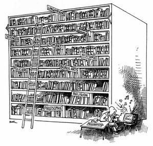 """Plantu, """"La bibliothèque et le Loft"""" (DR)"""