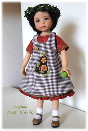 58.00 USD: Ruffled A-Line Dress with appliqued apron