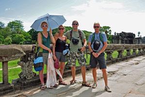 Hilde, Annick, Koen en Willem in Angkor