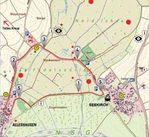 Karte Archäologischer Moorlehrpfad Nördliches Federseeried