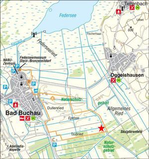 Karte Archäologischer Moorlehrpfad Südliches Federseeried