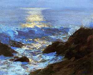 eìEdward henry Potthast - Seascaoe Moonlight