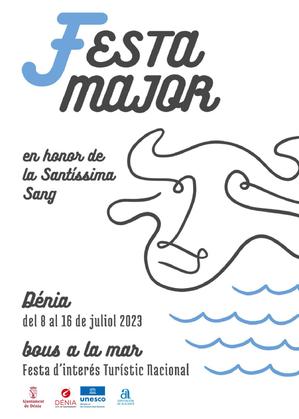 Cartel y programa de la Festa Major de Dènia  - Bous a la Mar